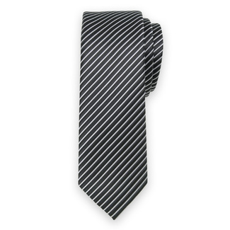 Classic tie with black and silver striped pattern 11558, Willsoor