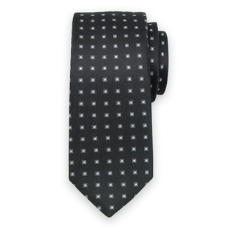 Classic tie with grey-white check pattern 11563