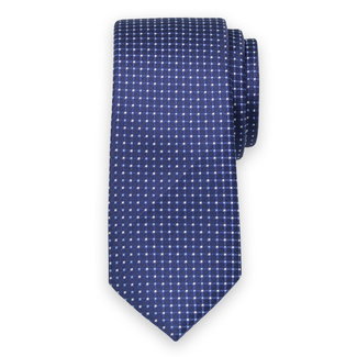 Classic tie in dark blue color with check pattern 11568, Willsoor