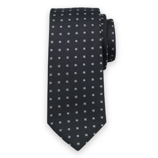 Classic tie in black color with fine grey pattern 11569