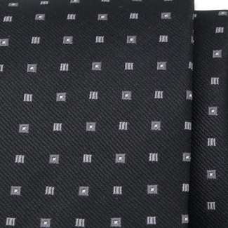 Classic tie in black color with fine grey pattern 11569, Willsoor