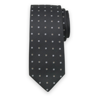 Classic tie in black color with grey check pattern 11570