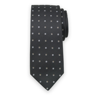 Classic tie in black color with grey check pattern 11570, Willsoor