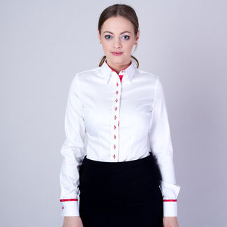 Women's shirt with red contrast elements 11581