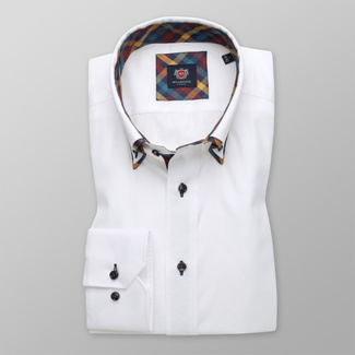 Men's Slim Fit shirt in white with contrast elements 11594