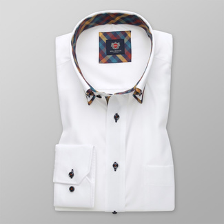 Men's Classic Fit shirt in white with contrast elements 11595