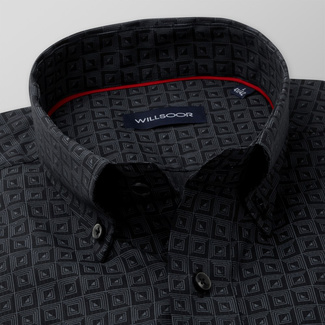 Men's Classic Fit shirt with grey geometric pattern 11597, Willsoor