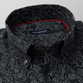 Men's Slim Fit shirt with grey floral pattern 11598, Willsoor