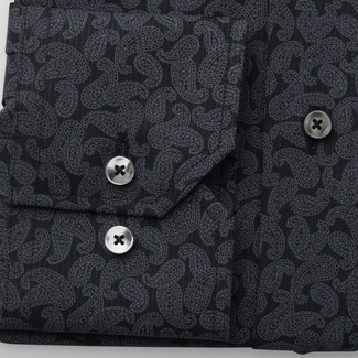 Men's Slim Fit shirt with grey paisley pattern 11600