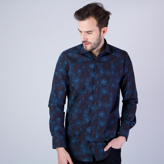 Men's Slim Fit shirt with brown and blue floral pattern 11606, Willsoor