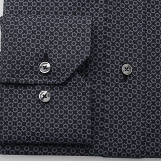 Men's Slim Fit shirt with grey floral pattern 11608, Willsoor