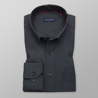 Men's Classic Fit shirt with grey floral pattern 11609, Willsoor