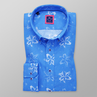 Men's Slim Fit shirt with white floral print 11610, Willsoor