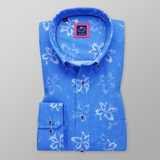 Men's Classic Fit shirt with white floral print 11611, Willsoor