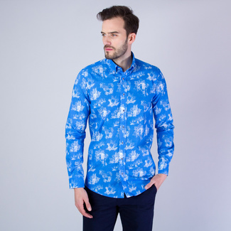 Men's Classic Fit shirt with white animal print 11613, Willsoor