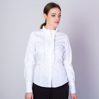 Women's shirt in white color with frills 11616