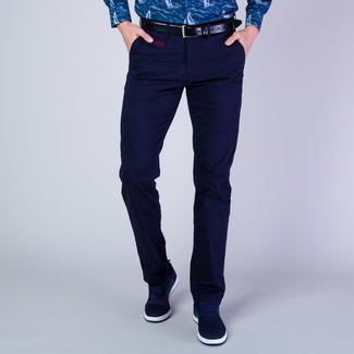 Men's chinos in dark blue with claret lining 11621