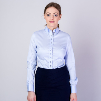 Women's shirt with dark blue contrast elements 11636