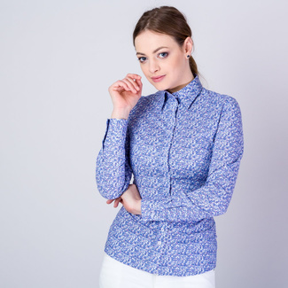 Women's shirt with fine blue floral pattern 11640, Willsoor