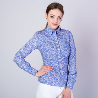 Women's shirt with fine blue floral pattern 11640