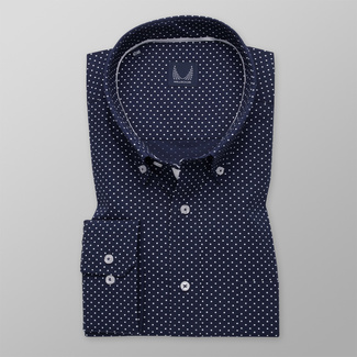 Men's classic shirt with white polka dot pattern 11642
