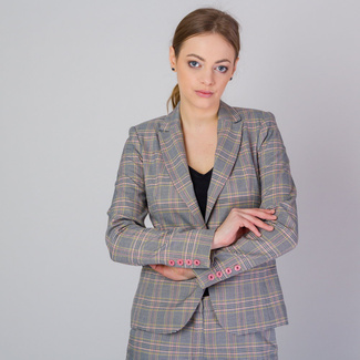 Women's suit jacket with black, pink and yellow check pattern 11652, Willsoor