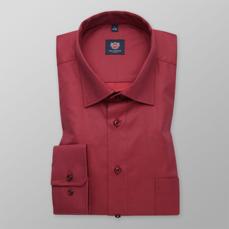 Men's classic shirt in red color 11677, Willsoor