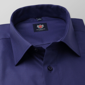 Men's slim fit shirt in dark blue color 11680, Willsoor