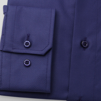 Men's classic shirt in dark blue color 11681, Willsoor