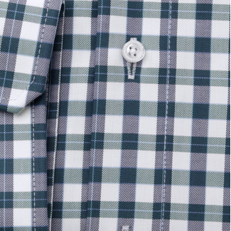 Men's slim fit shirt with green-blue-white check pattern 11686, Willsoor