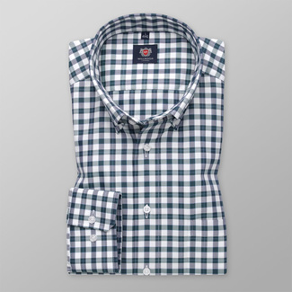 Men's classic shirt with green-blue-white check pattern 11687, Willsoor