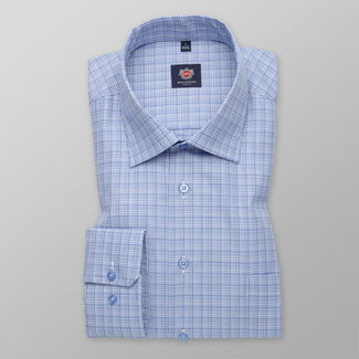 Men's classic shirt with blue-white pattern 11691, Willsoor