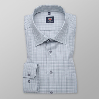 Men's slim fit shirt with grey-white pattern 11692, Willsoor
