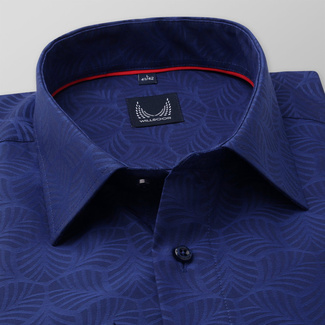 Men's classic shirt in dark blue with geometric pattern 11695, Willsoor