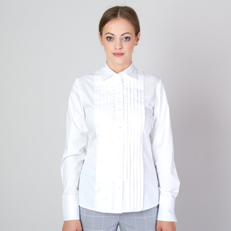 Women's shirt in white with decorative pleating 11701