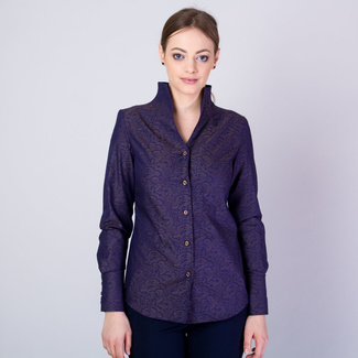 Women's shirt with a high collar and brown pattern 11705, Willsoor