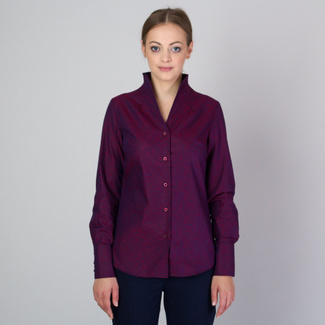 Women's shirt in claret color with a high collar 11706, Willsoor