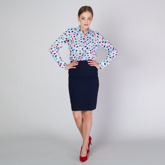 Women's oversize shirt with colorful geometric pattern 11714, Willsoor