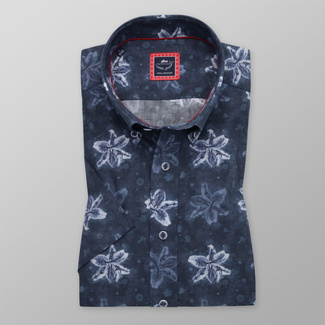 Men's slim fit shirt in dark blue with floral pattern 11729
