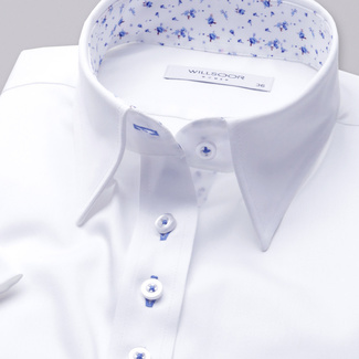 Women's shirt in white with light blue contrast elements 11733, Willsoor