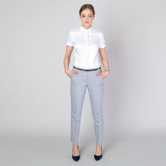 Women's shirt in white with fine contrast elements 11734, Willsoor