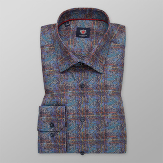 Men's classic shirt with colorful floral pattern 11736, Willsoor