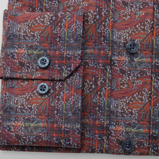 Men's slim fit shirt in brown color with floral pattern 11737, Willsoor