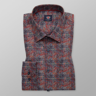Men's classic fit shirt in brown color with floral pattern 11738, Willsoor