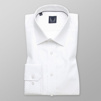 Men's slim fit shirt in white color with polka dot pattern 11739
