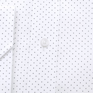 Men's slim fit shirt in white color with polka dot pattern 11739, Willsoor