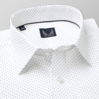 Men's classic shirt in white color with polka dot pattern 11740, Willsoor