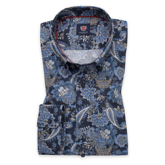 Men's slim fit shirt in blue color with flower pattern 11741, Willsoor