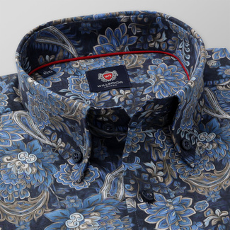 Men's classic fit shirt in blue color with flower pattern 11742, Willsoor