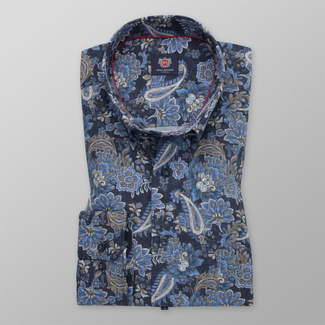 Men's classic fit shirt in blue color with flower pattern 11742